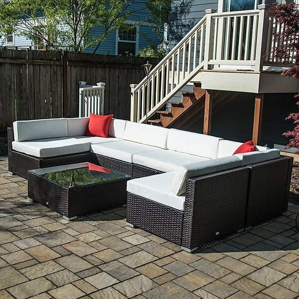 7 Piece Rattan Sectional Seating Group with Cushio