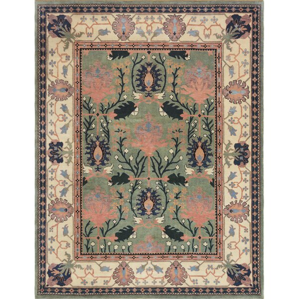 One-of-a-Kind Donegal Fine Hand-Knotted Wool Green/Beige Indoor Area Rug by Mansour