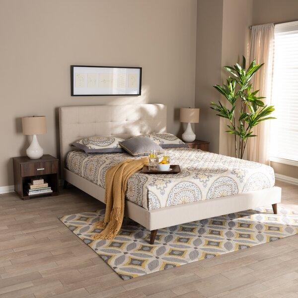 Johnsen Mid-Century Modern Fabric Upholstered Platform Configurable Bedroom Set By George Oliver