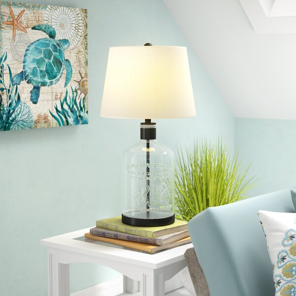 Woodburn Metal and Glass 26.5 Table Lamp by Breakwater Bay