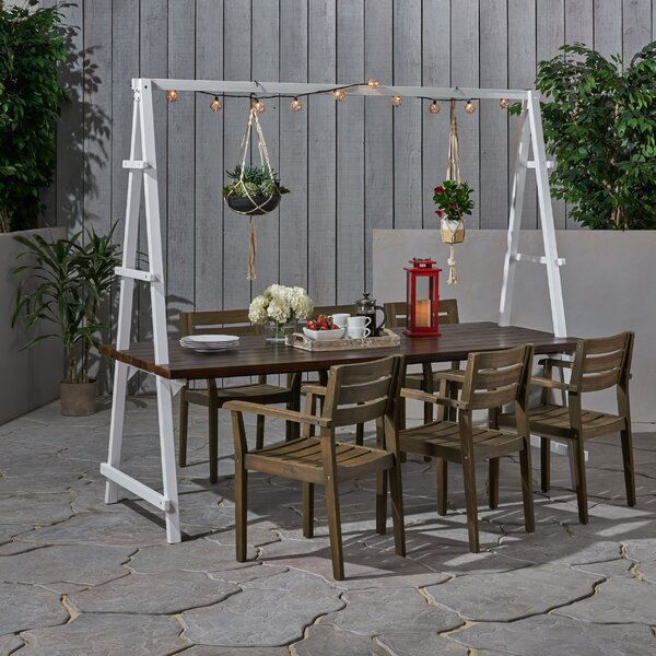 Steinke Outdoor Acacia Wood and Iron Planter 7 Piece Dining Set by Highland Dunes