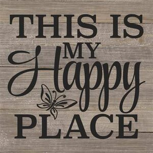 'This is My Happy Place' Textual Art on Wood in Gray by Artistic Reflections