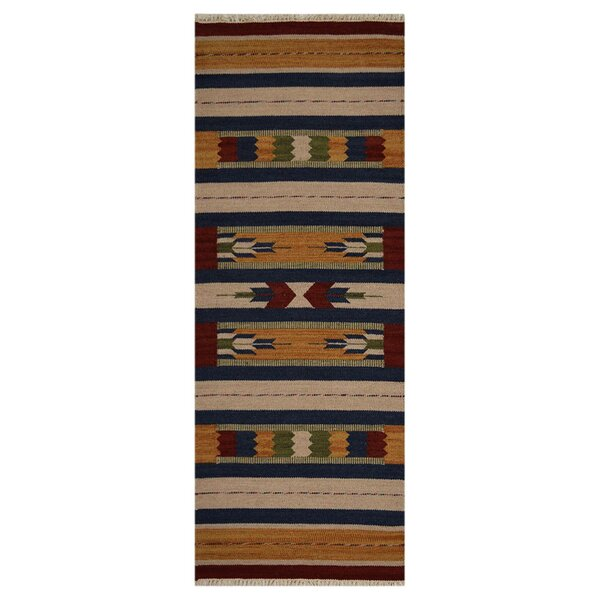 Clairan Hand-Woven Brown/Blue Area Rug by Loon Peak