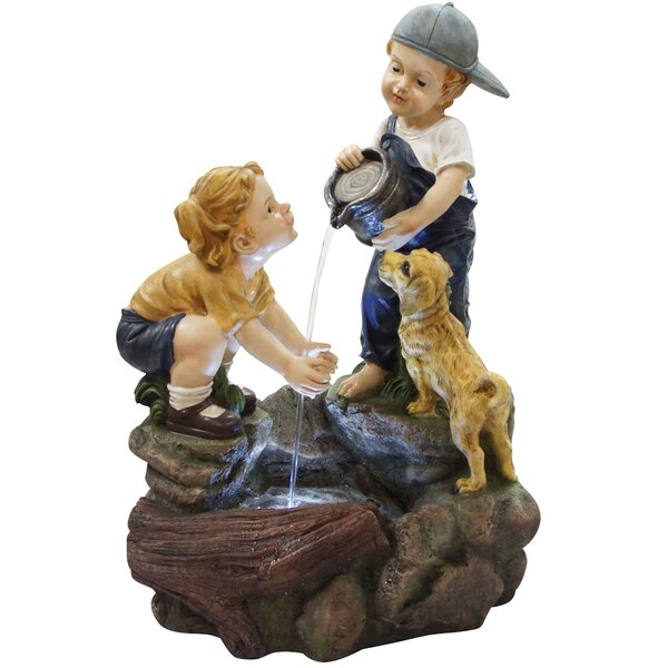 Resin Boy Washing Girls Hands Fountain with LED Light by Alpine