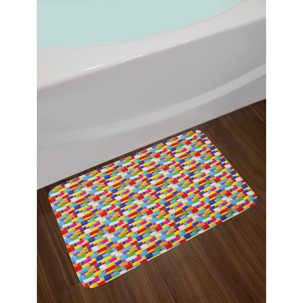 Colorful Squares Abstract Bath Rug by East Urban Home