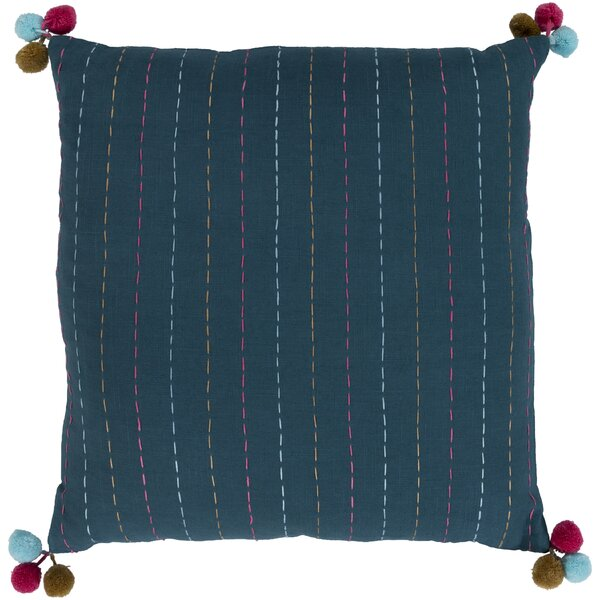 Dhaka Teal Bohemian Global Cotton Throw Pillow by Surya