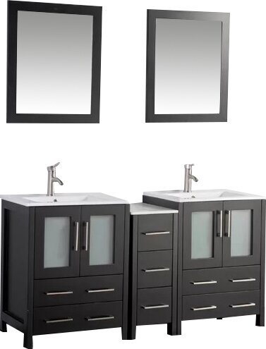 Karson 60 Double Bathroom Vanity Set with Mirror by Wade Logan