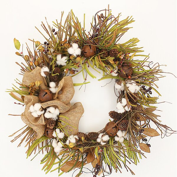 22 Cotton and Bell Wreath by Gracie Oaks