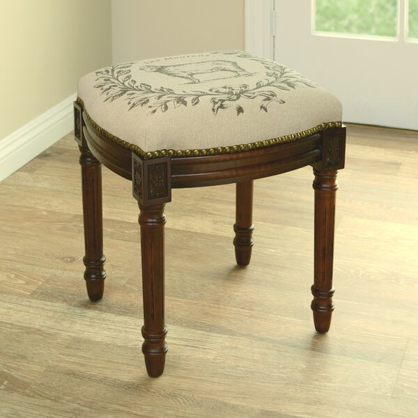 Sheep Linen Upholstered Vanity Stool with Nailhead by 123 Creations