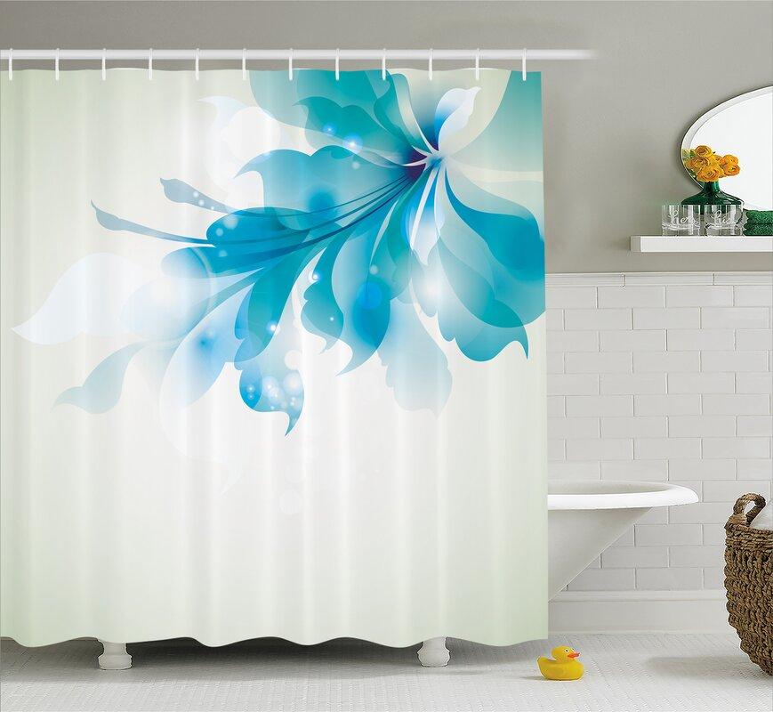Ebern Designs Celestiel Blue Ombre Flowers Shower Curtain ...