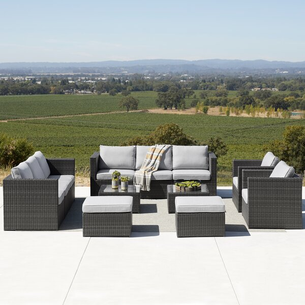 Eastbrook 12 Piece Rattan Sectional Seating Group with Cushions by Brayden Studio