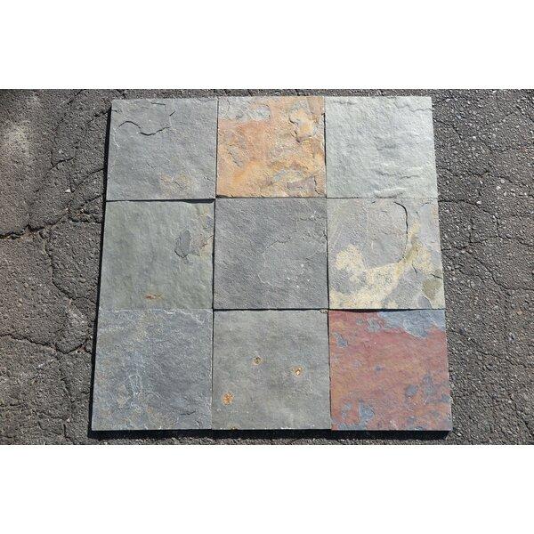 China Multi Color Dark Natural Cleft Face, Gauged Back 12x12 Slate Field Tile