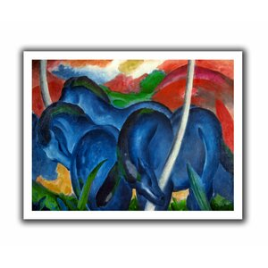Big Blue Horses' by Franz Marc Painting Print on Rolled Canvas by ArtWall