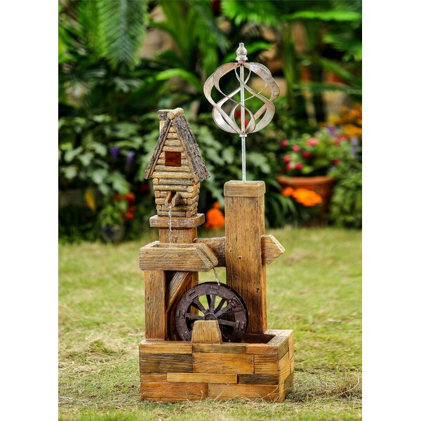 Resin/Fiberglass Wood Look Birdhouse with Wind Spinner Water Fountain by Jeco Inc.