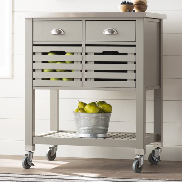 Chason Kitchen Cart with Stainless Top by Charlton Home