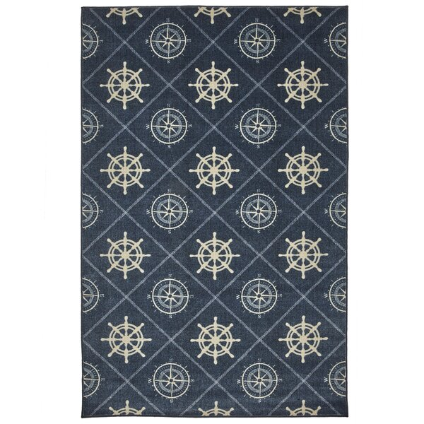 Wildermuth Compass Navy Area Rug by Breakwater Bay