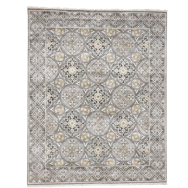 One-of-a-Kind Oidized Mughal Inspi Medallions Hand-Knotted Ivory Area Rug by Astoria Grand