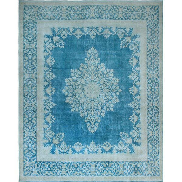 One-of-a-Kind Millner Distressed Gigi Hand-Knotted Wool Blue Are Rug by Bloomsbury Market