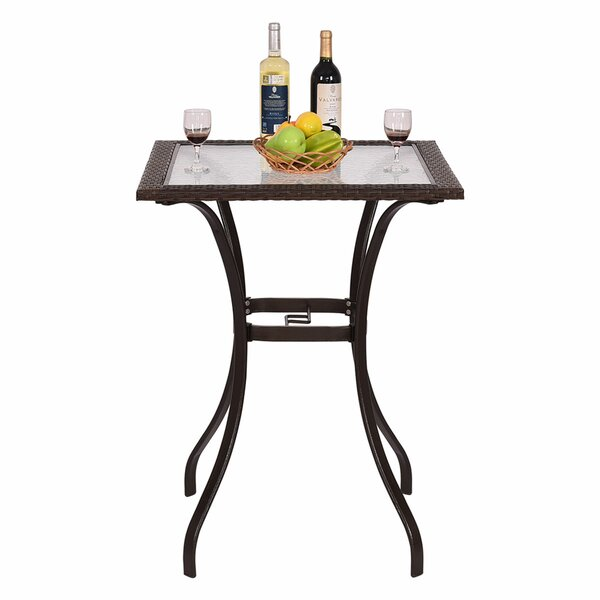 Carly Patio Steel/Rattan Bar Table by Winston Porter