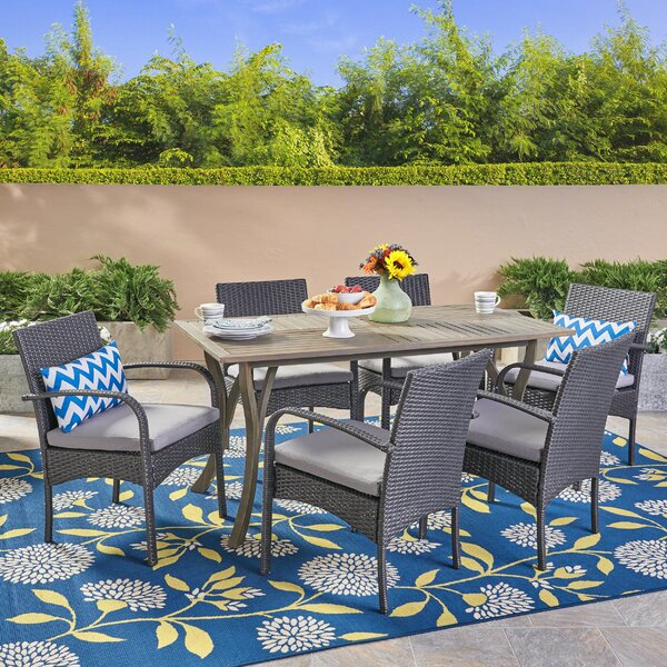 Guillory 7 Piece Dining Set with Cushions by Highland Dunes
