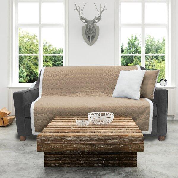Microfiber Sherpa Reversible Furniture Box Cushion Sofa Slipcover By Sure Fit