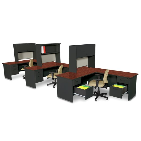 Crivello L-Shape Executive Desk with Hutch by Red Barrel Studio