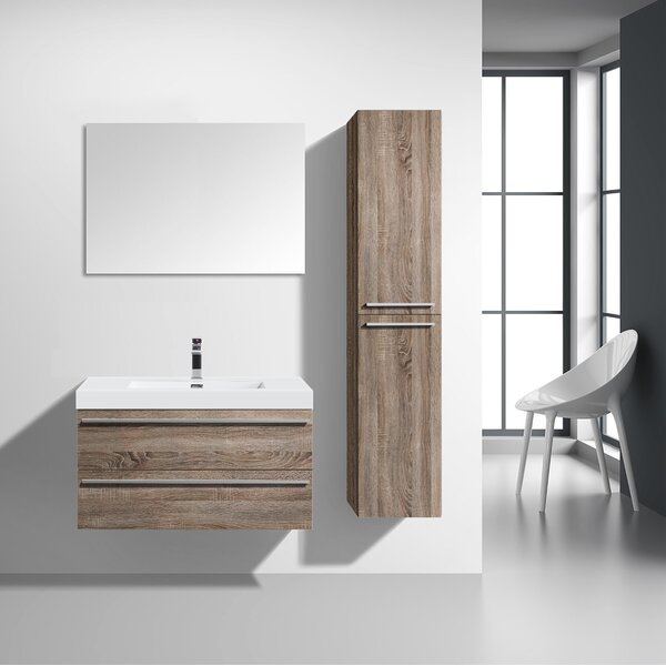 Bolivia 36 Wall-Mounted Single Bathroom Vanity with Mirror by Foundry Select