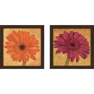 'Pink Gerbera' 2 Piece Framed Acrylic Painting Print Set Under Glass by Zipcode Design