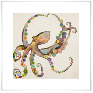 'Octopus' by Eli Halpin Print of Painting on Paper in Cream by GreenBox Art