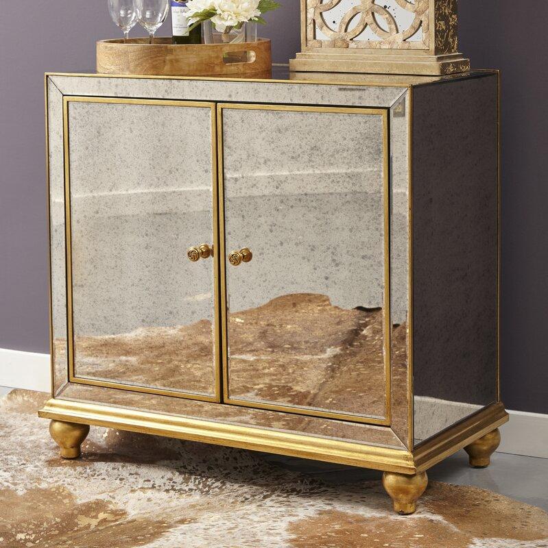 Malik Antique Mirrored 8 Bottle Floor Wine Cabinet