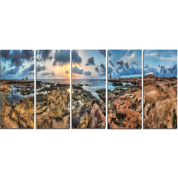 Rocky with Historic Ruins Evening 5 Piece Wall Art on Wrapped Canvas Set by Design Art