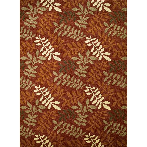 Chester Red Leafs Area Rug by Threadbind
