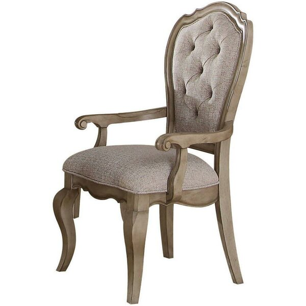 Sandra Tufted Upholstered King Louis Back Arm Chair In Antique Taupe (Set Of 2) By One Allium Way