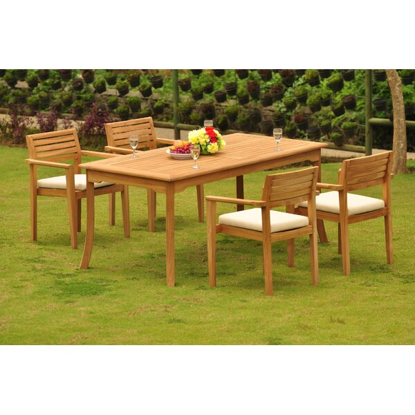 Nestor 5 Piece Teak Dining Set by Rosecliff Heights