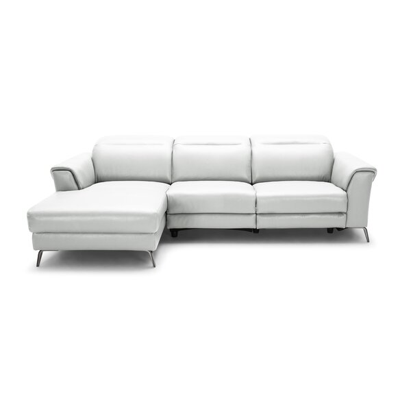 Dorothy Leather Reclining Sectional by Orren Ellis