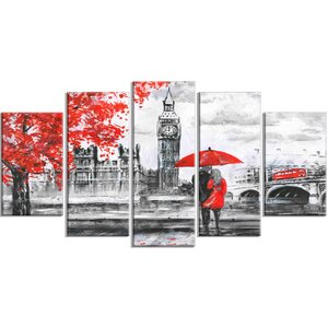 'Couples Walking in Paris' Photographic Print Multi-Piece Image on Canvas by Design Art
