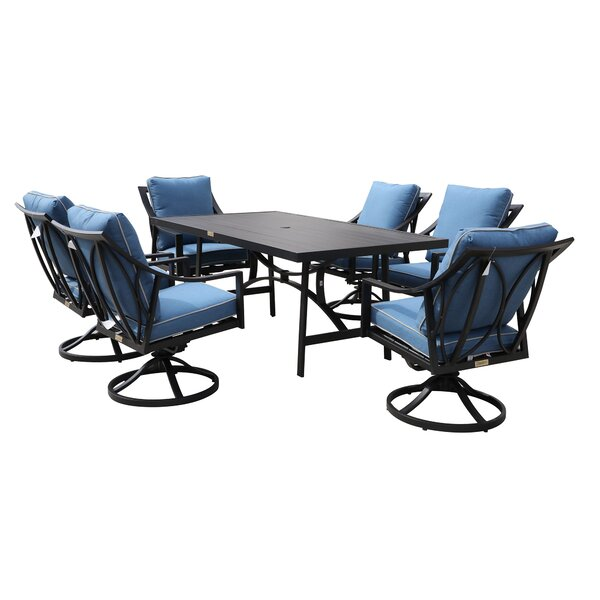 Rolla Outdoor 7 Piece Dining Set with Cushions by Canora Grey