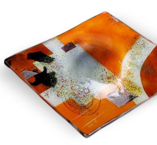 Square Decorative Platter by Jasmine Art Glass