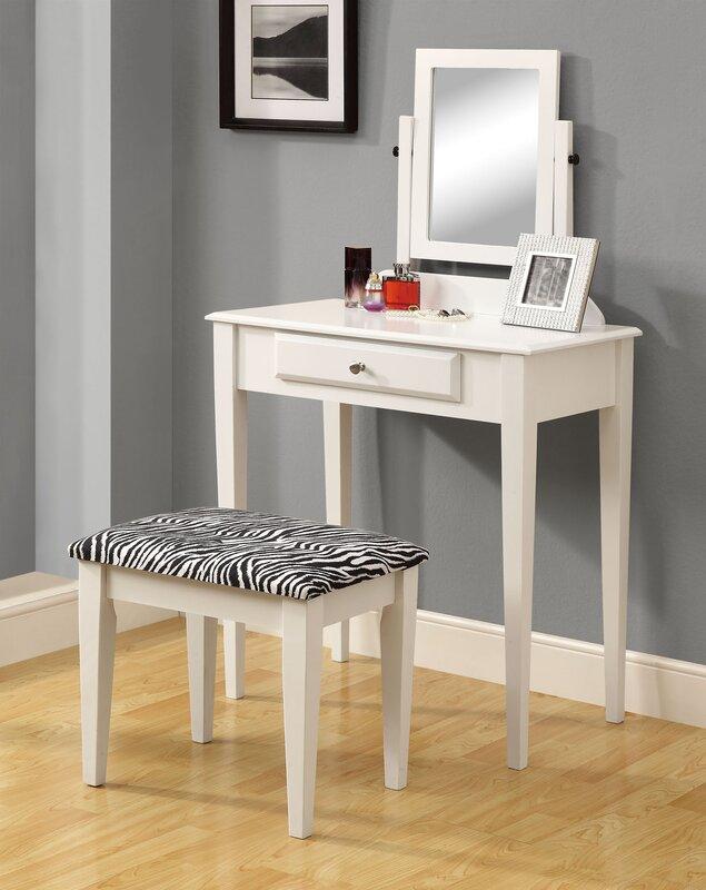 Vanity Set With Mirror Zebra Print Stool