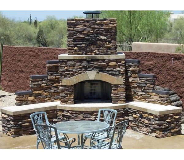 Santa Fe Stone Gas Outdoor Fireplace by Kokomo Grills