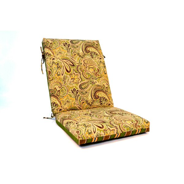 2 Sided Paisley High Back Indoor Outdoor Lounge Chair Cushion By