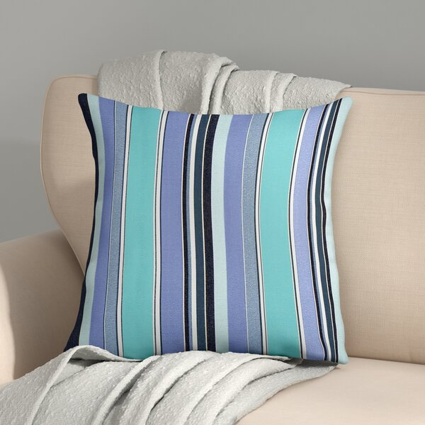 Cherryvale Oasis Stripes Outdoor Sunbrella Throw Pillow by Red Barrel Studio