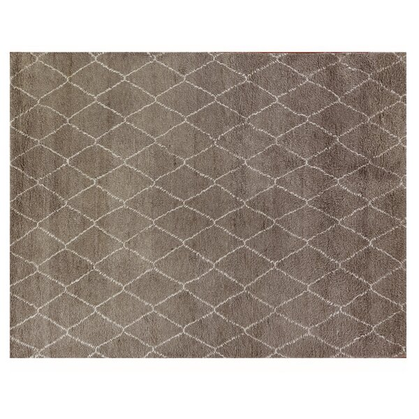 Moroccan Hand Knotted Wool Gray Area Rug by Exquisite Rugs