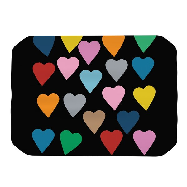 Hearts Colour On Black Placemat by KESS InHouse