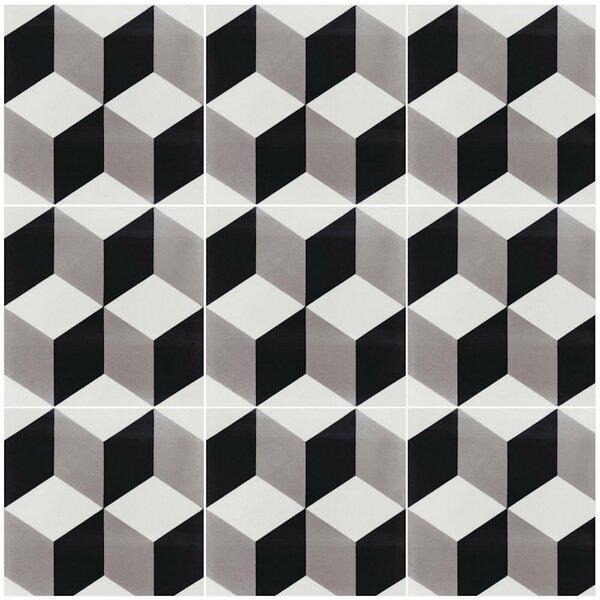 Cubes A Sencillo 8 x 8 Cement Field Tile in Black/Gray by Villa Lagoon Tile