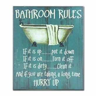 Wall Art For Bathroom. Bathroom Rules Textual Art