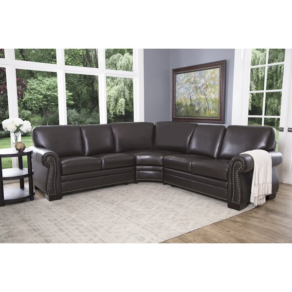 Barnabas Leather Symmetrical Sectional By Darby Home Co