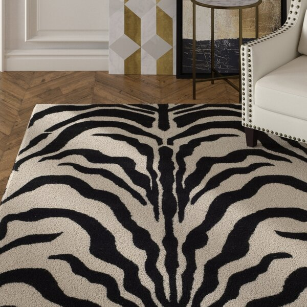 Roloff Hand-Tufted Wool Ivory/Black Area Rug by Mercer41