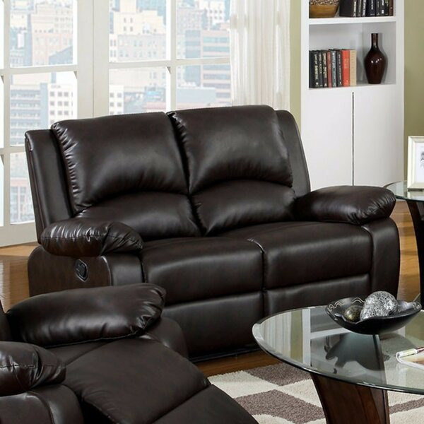 Walshe Cozy Motion Leather Loveseat by Red Barrel Studio