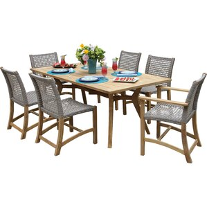 7 Piece Keldara Teak Patio Dining Set